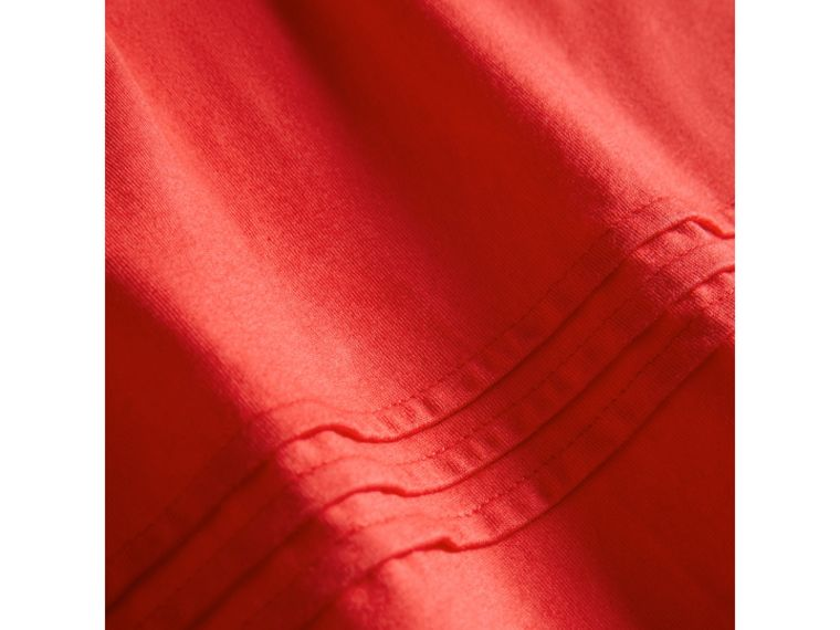 Pleat and Check Detail Cotton T-shirt in Bright Orange Red - Girl | Burberry - cell image 1