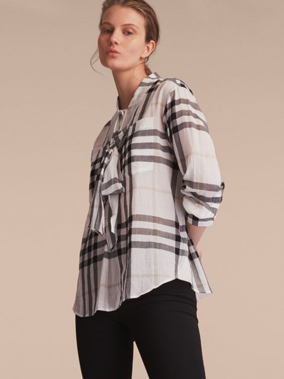 Check Tie Neck Cotton Shirt - Women | Burberry