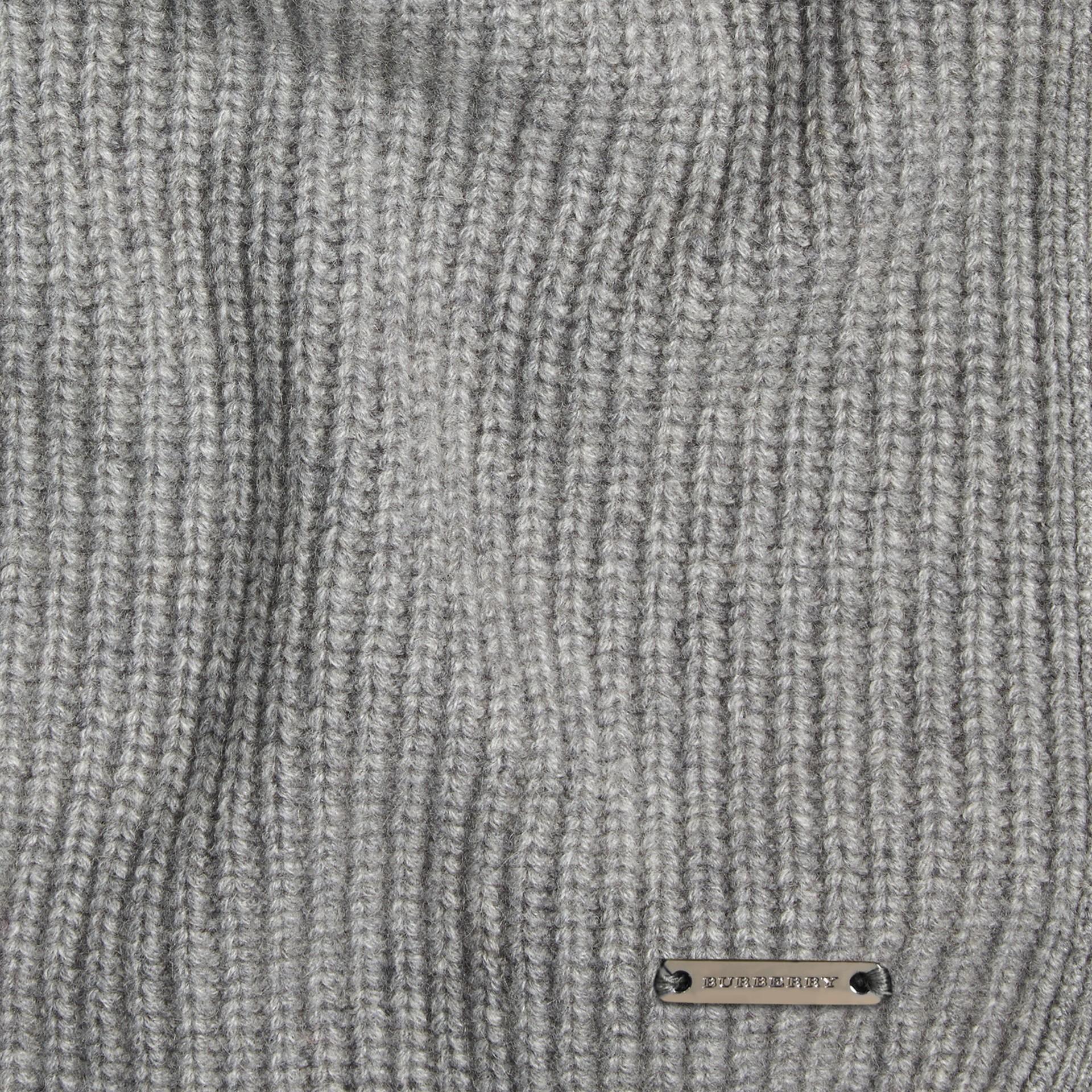 Light grey melange Rib Cashmere Blanket Light Grey Melange - gallery image 2