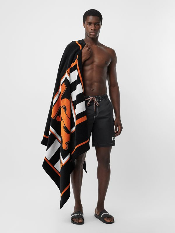 Monogram and Icon Stripe Print Cotton Towel in Black | Burberry United Kingdom - cell image 3