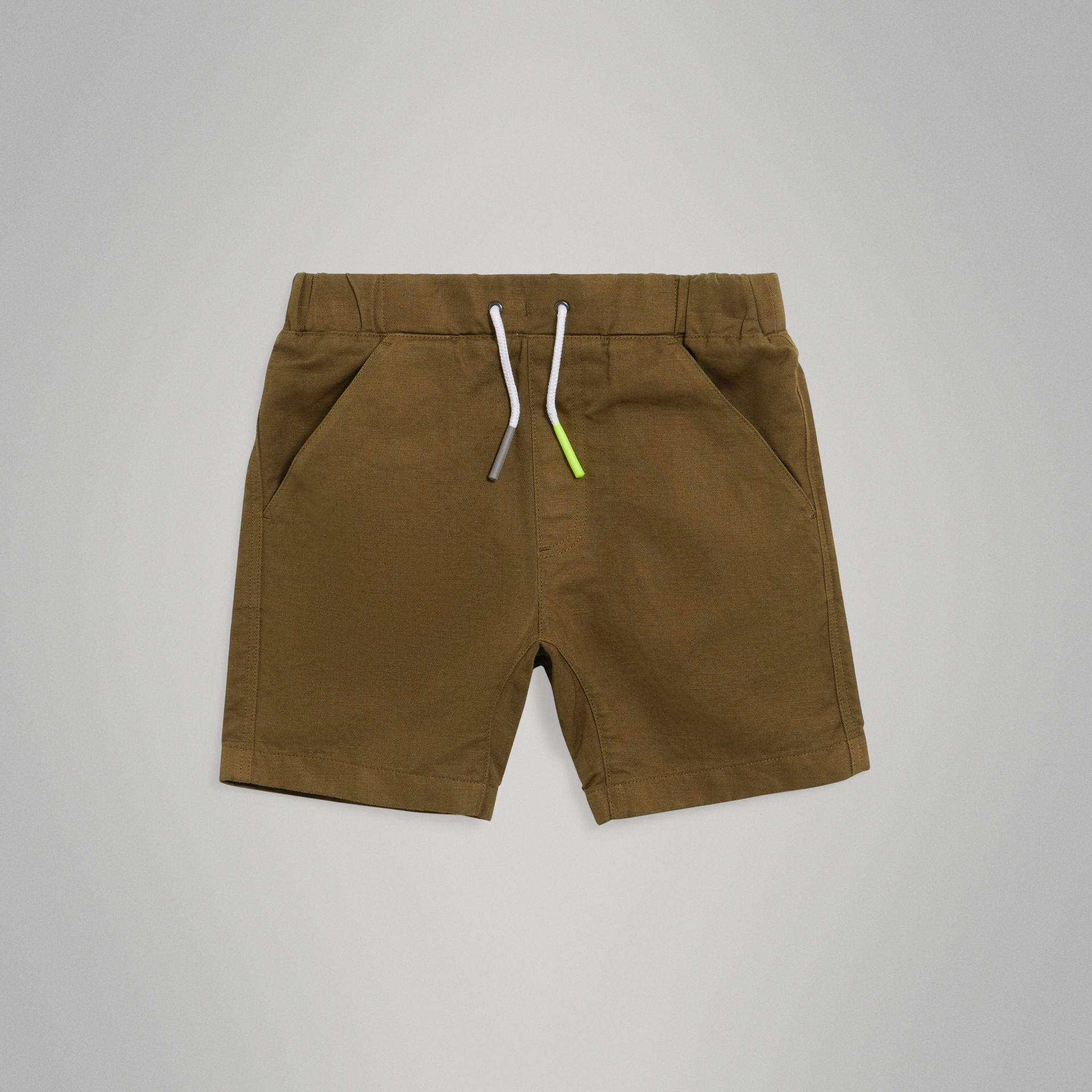 Drawcord Cotton Linen Twill Shorts in Olive | Burberry United Kingdom - gallery image 0