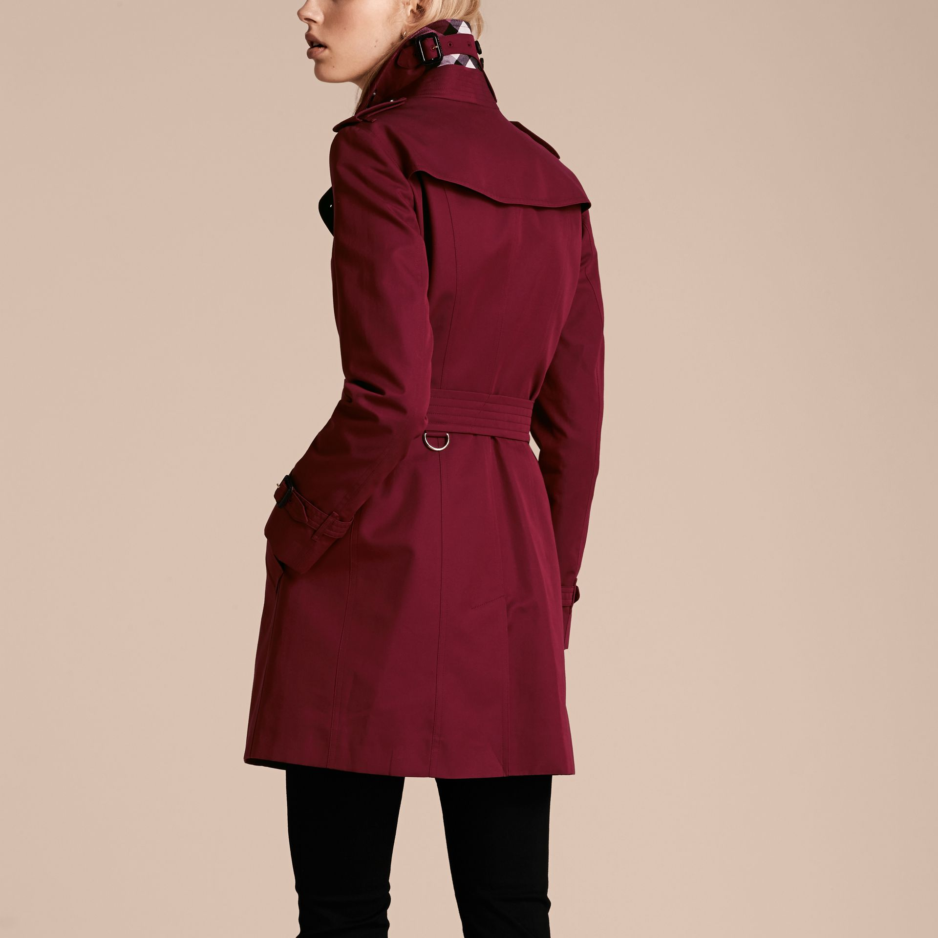 Cotton Gabardine Trench Coat in Damson Pink - gallery image 3