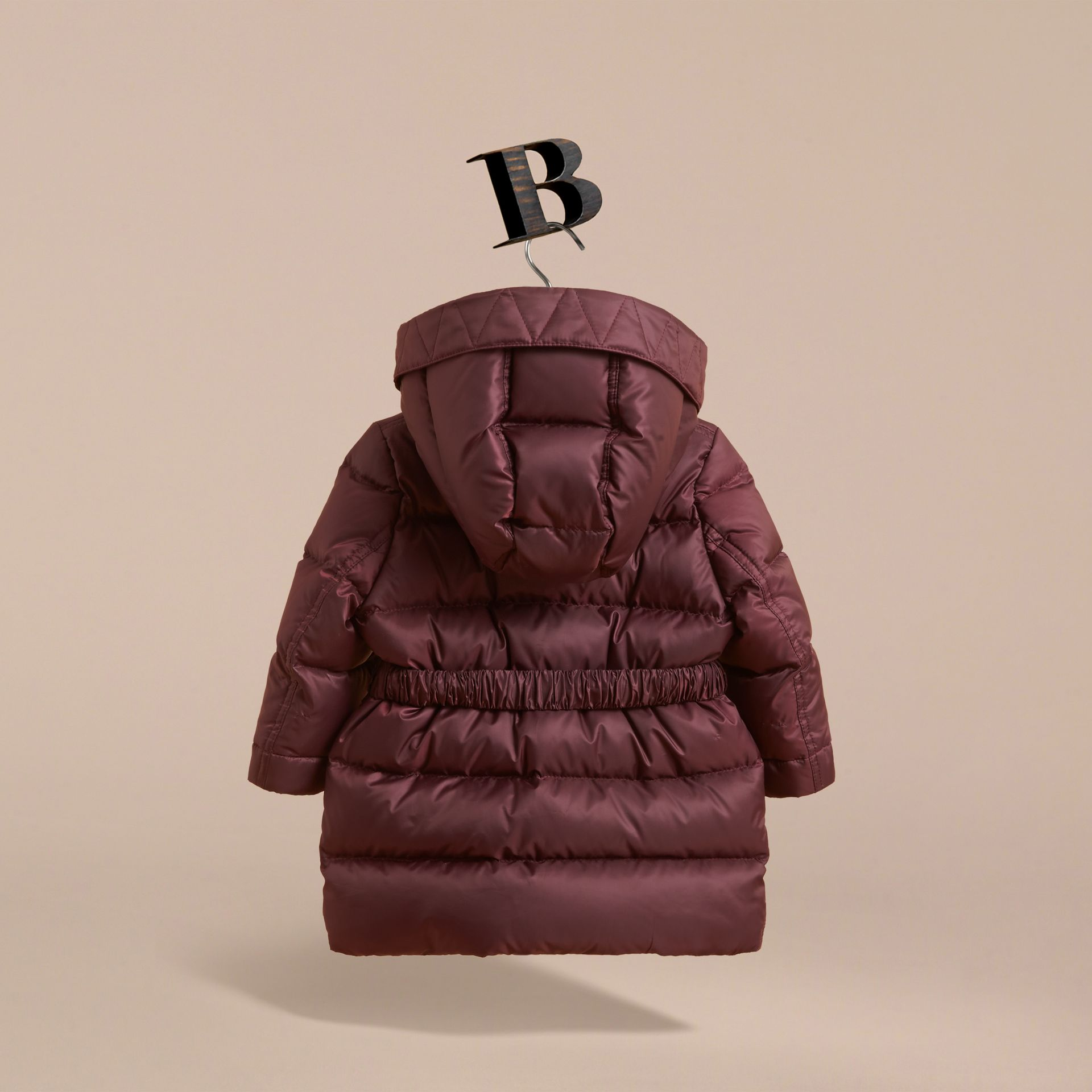 Bow Detail Down-filled Coat in Dark Plum | Burberry - gallery image 4