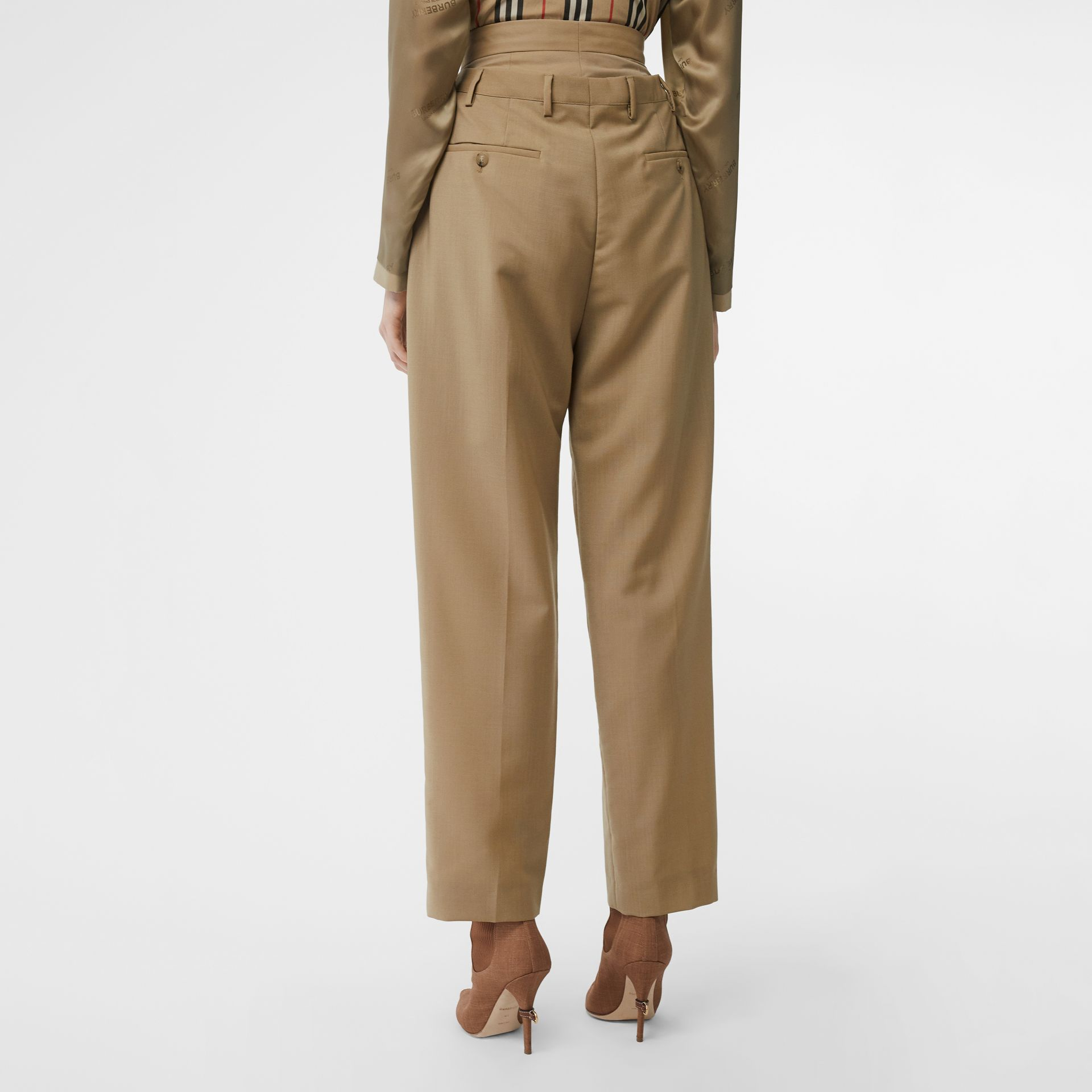 Double-waist Mohair Wool Trousers in Honey - Women | Burberry United States - gallery image 2