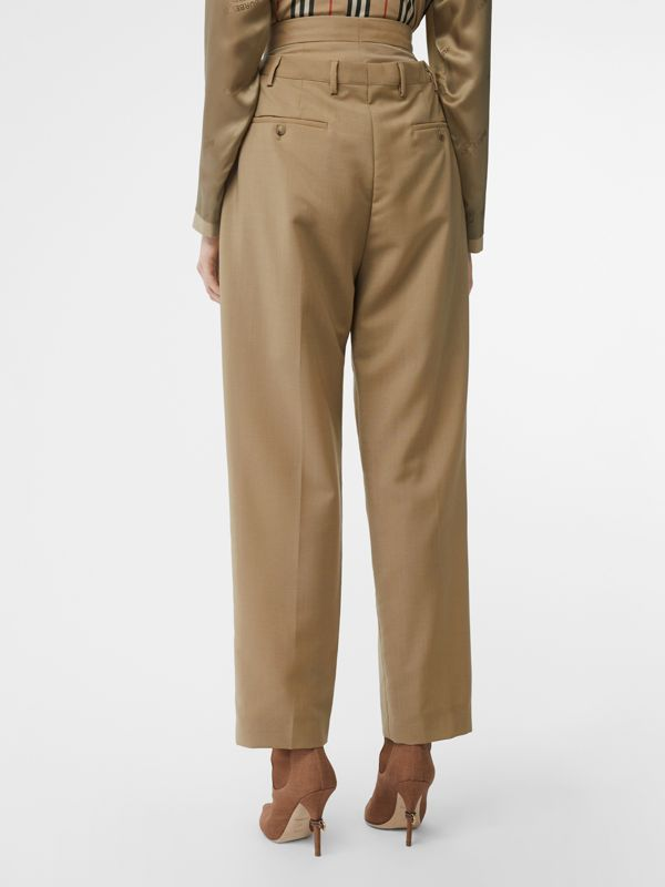 Double-waist Mohair Wool Trousers in Honey - Women | Burberry United States - cell image 2