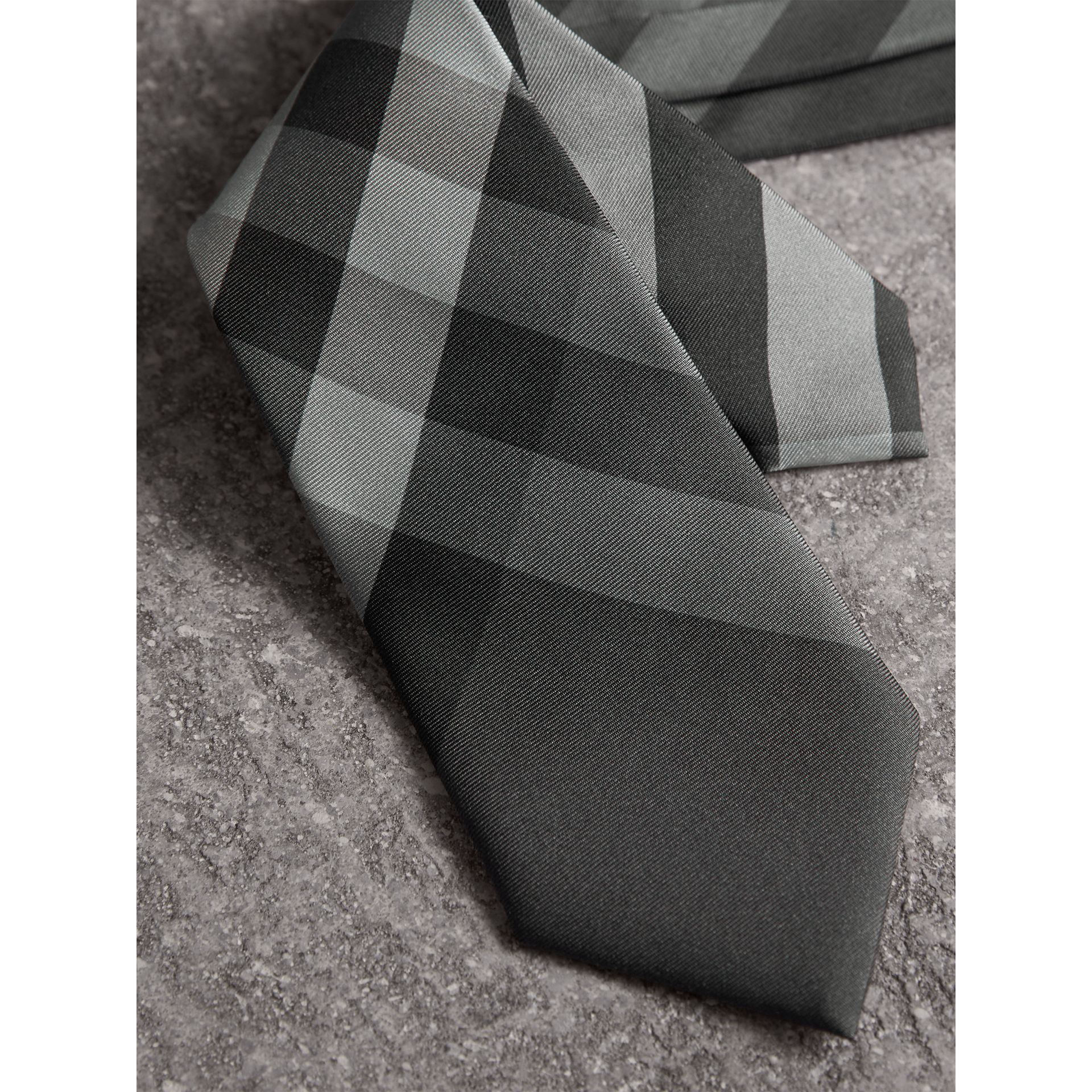 Modern Cut Beat Check Silk Tie in Dark Charcoal - Men | Burberry Australia - gallery image 1