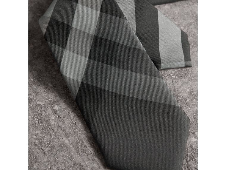 Modern Cut Beat Check Silk Tie in Dark Charcoal - Men | Burberry United States - cell image 1