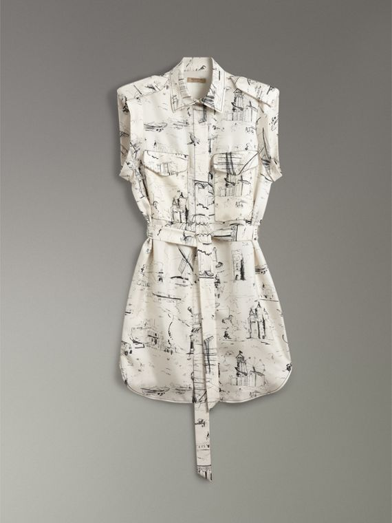 Landmark Print Silk Shirt Dress in Off White/ Black - Women | Burberry - cell image 3