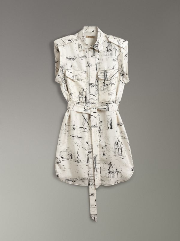 Landmark Print Silk Shirt Dress in Off White/ Black - Women | Burberry Singapore - cell image 3