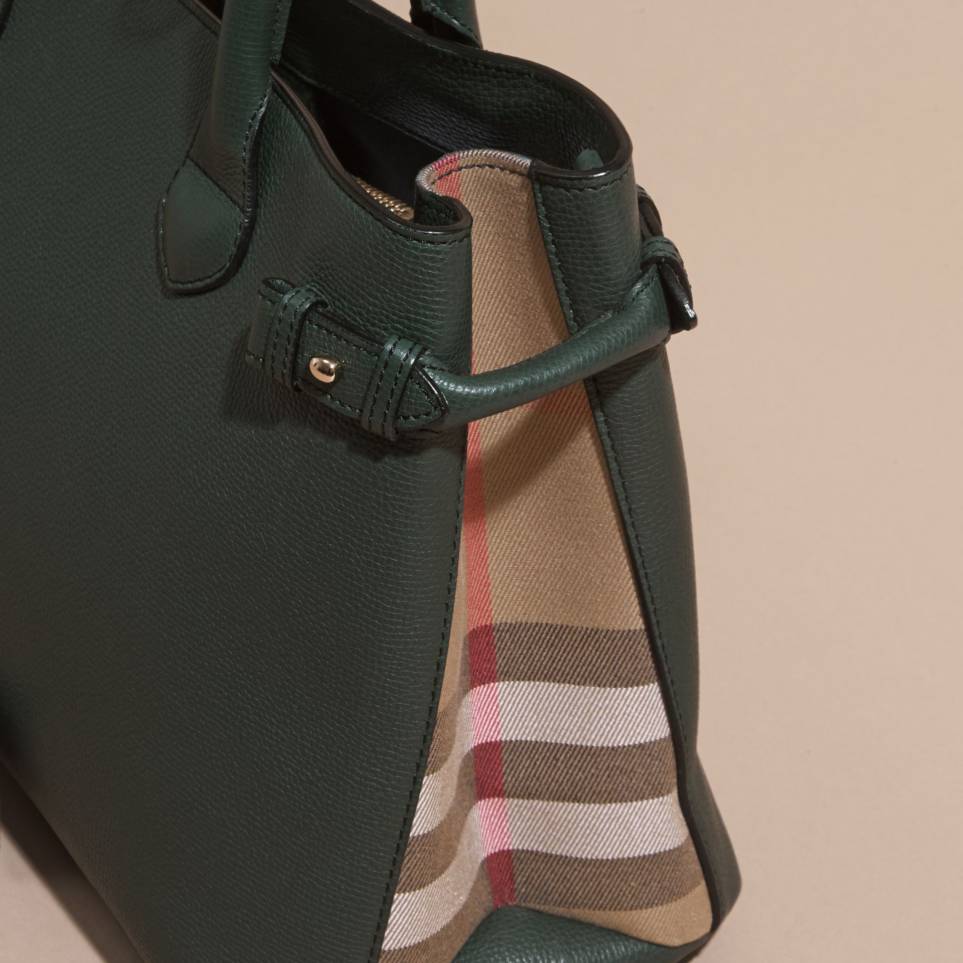 The Medium Banner in Leather and House Check in Dark Bottle Green - Women | Burberry - gallery image 6