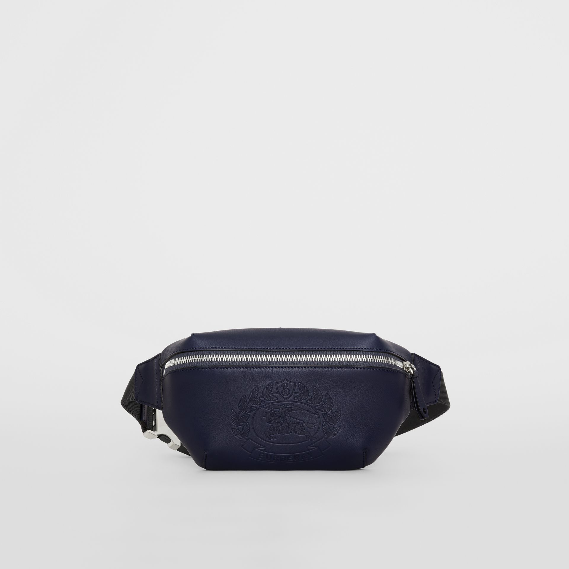 Medium Embossed Crest Leather Bum Bag in Regency Blue | Burberry Australia - gallery image 4