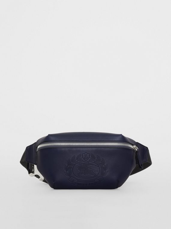 Medium Embossed Crest Leather Bum Bag in Regency Blue