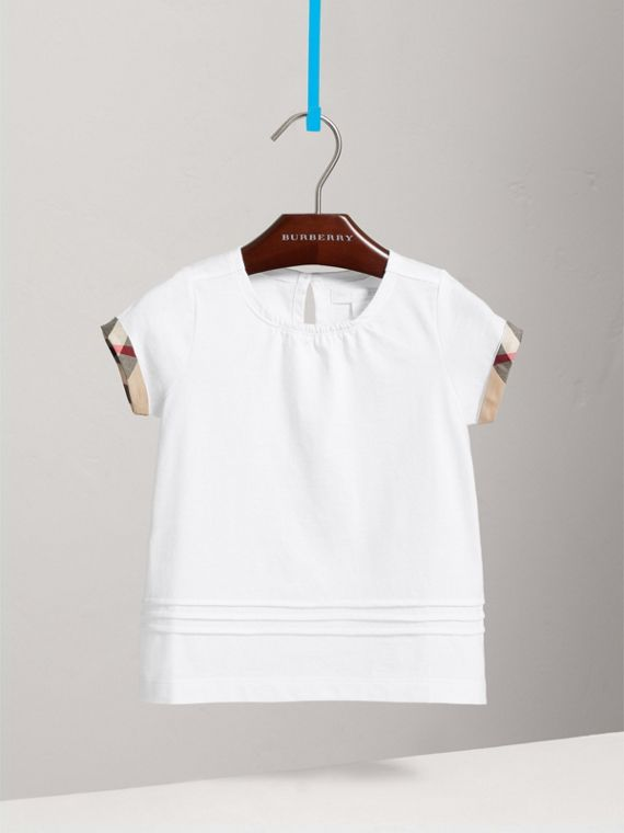 Pleat and Check Detail Cotton T-shirt in White - Girl | Burberry - cell image 2