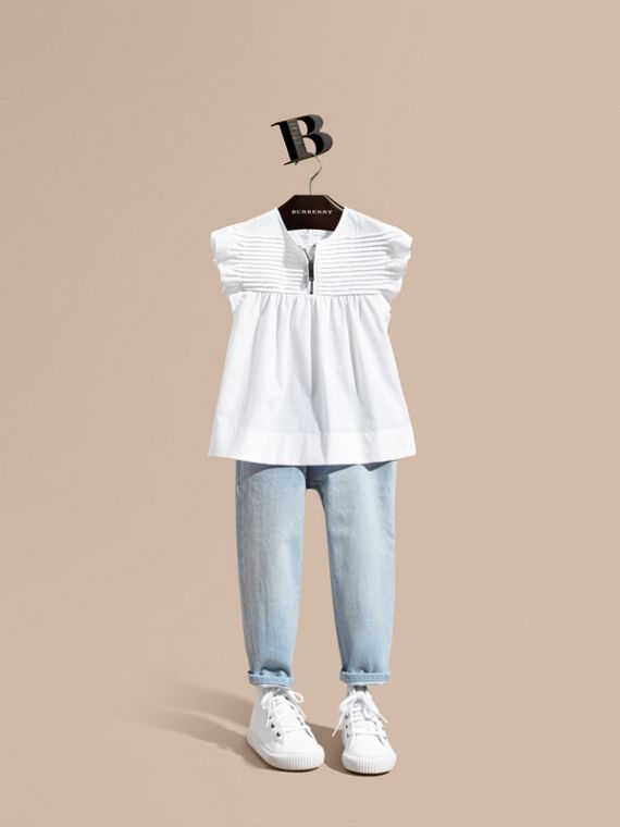 Pleat and Ruffle Detail Cotton Shirt