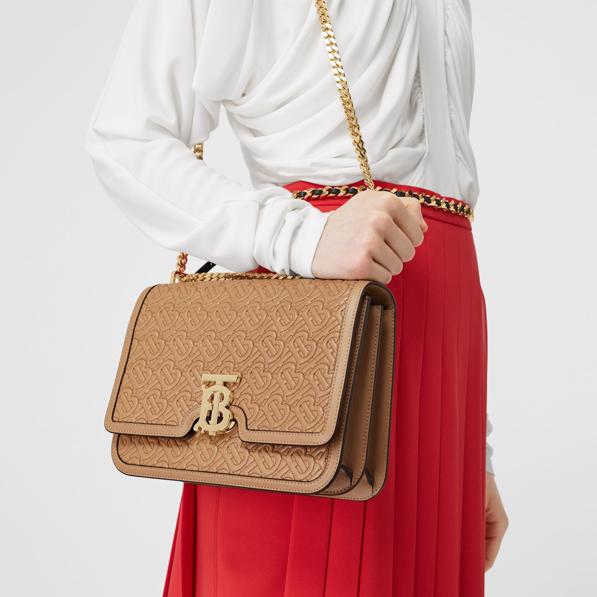 Medium Quilted Monogram Lambskin TB Bag in Honey - Women | Burberry Singapore - gallery image 2