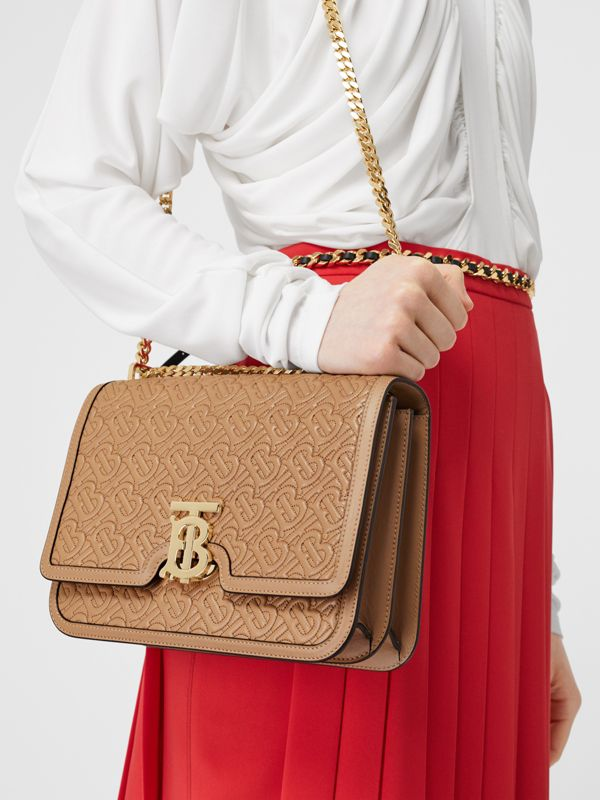 Medium Quilted Monogram Lambskin TB Bag in Honey - Women | Burberry - cell image 2