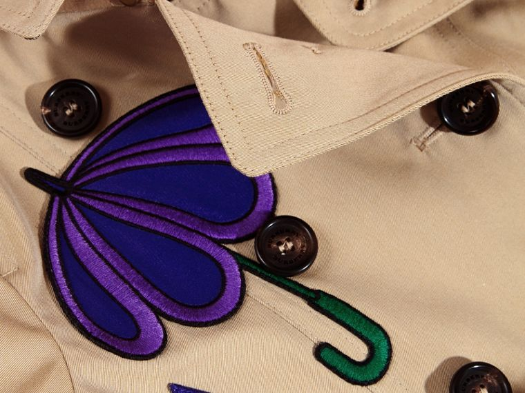 Honey Cotton Trench Coat with Embroidered Weather Appliqués - cell image 1