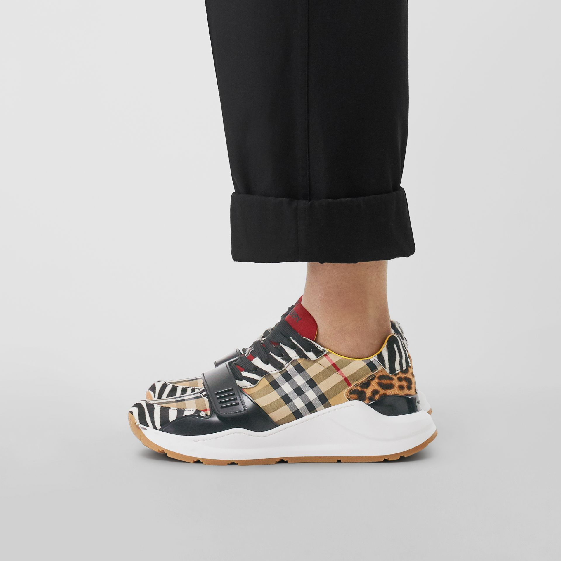 Animal Print and Vintage Check Sneakers in Antique Yellow - Women | Burberry Australia - gallery image 2