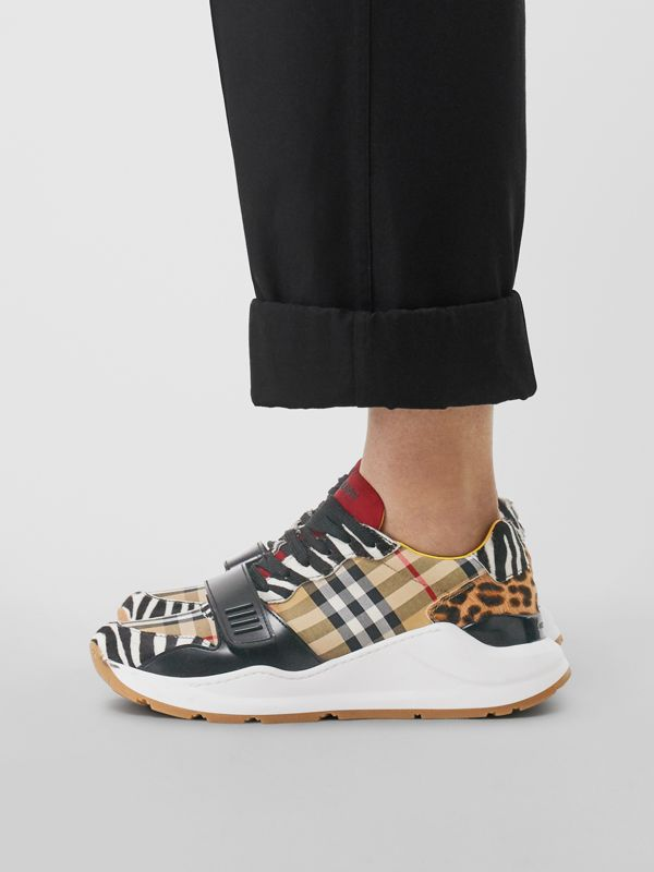 Animal Print and Vintage Check Sneakers in Antique Yellow - Women | Burberry Hong Kong S.A.R - cell image 2