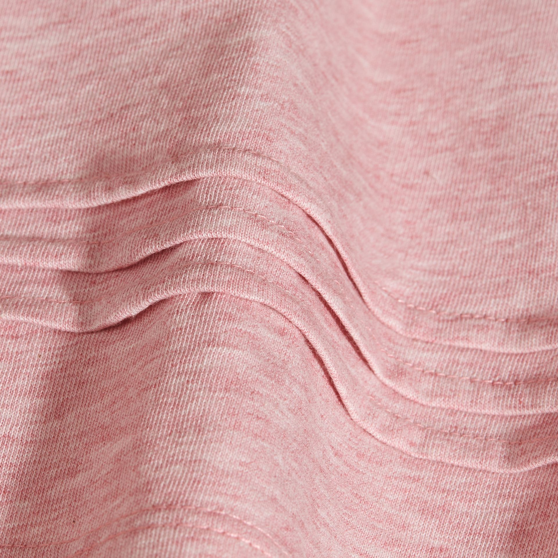 Pleat and Check Detail Cotton T-shirt in Light Copper Pink Melange | Burberry - gallery image 2