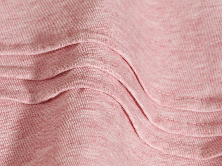 Pleat and Check Detail Cotton T-shirt in Light Copper Pink Melange - Girl | Burberry - cell image 1