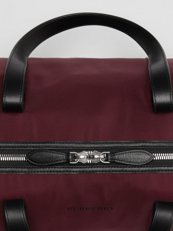 Medium Nylon and Vintage Check Barrel Bag in Oxblood - Men | Burberry - cell image 1
