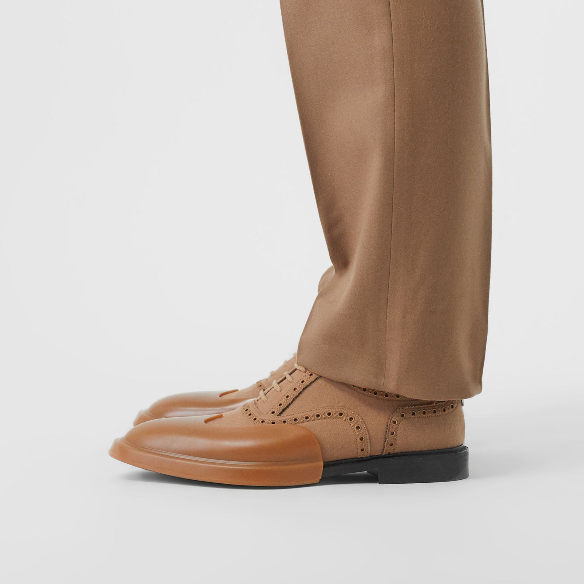 Toe Cap Detail Wool Oxford Brogues in Warm Camel - Men | Burberry - gallery image 2