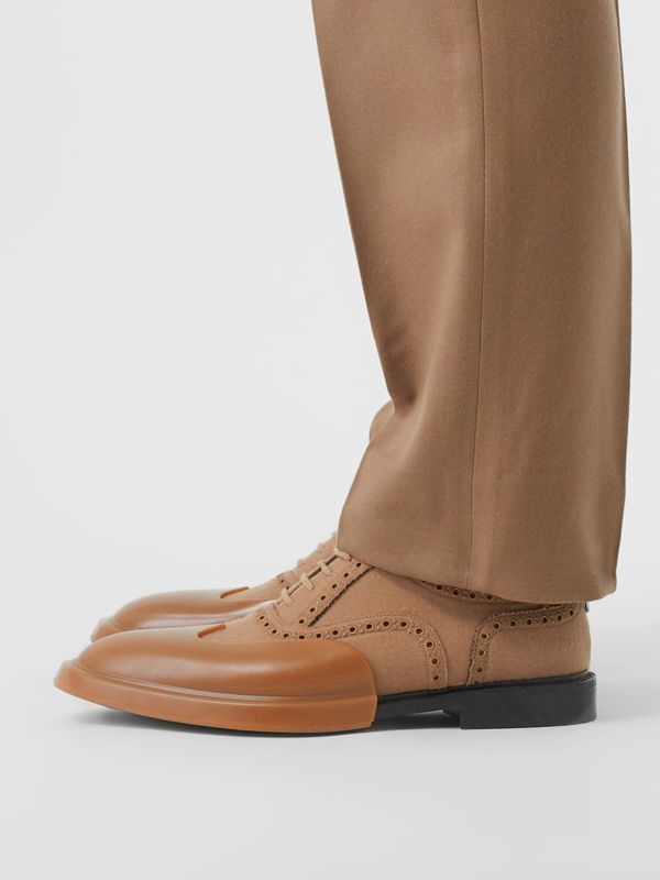 Toe Cap Detail Wool Oxford Brogues in Warm Camel - Men | Burberry - cell image 2