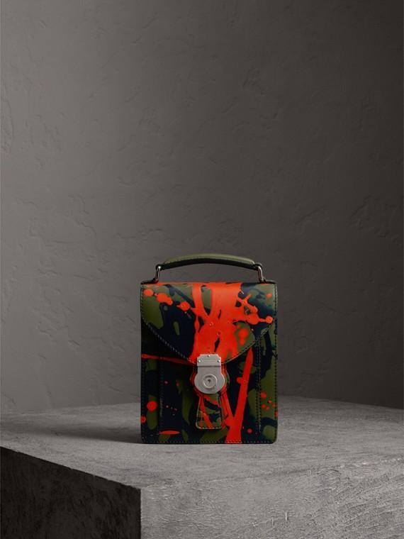Bolso DK88 satchel pequeño con motivo de pintura salpicada (Verde Pizarra /)