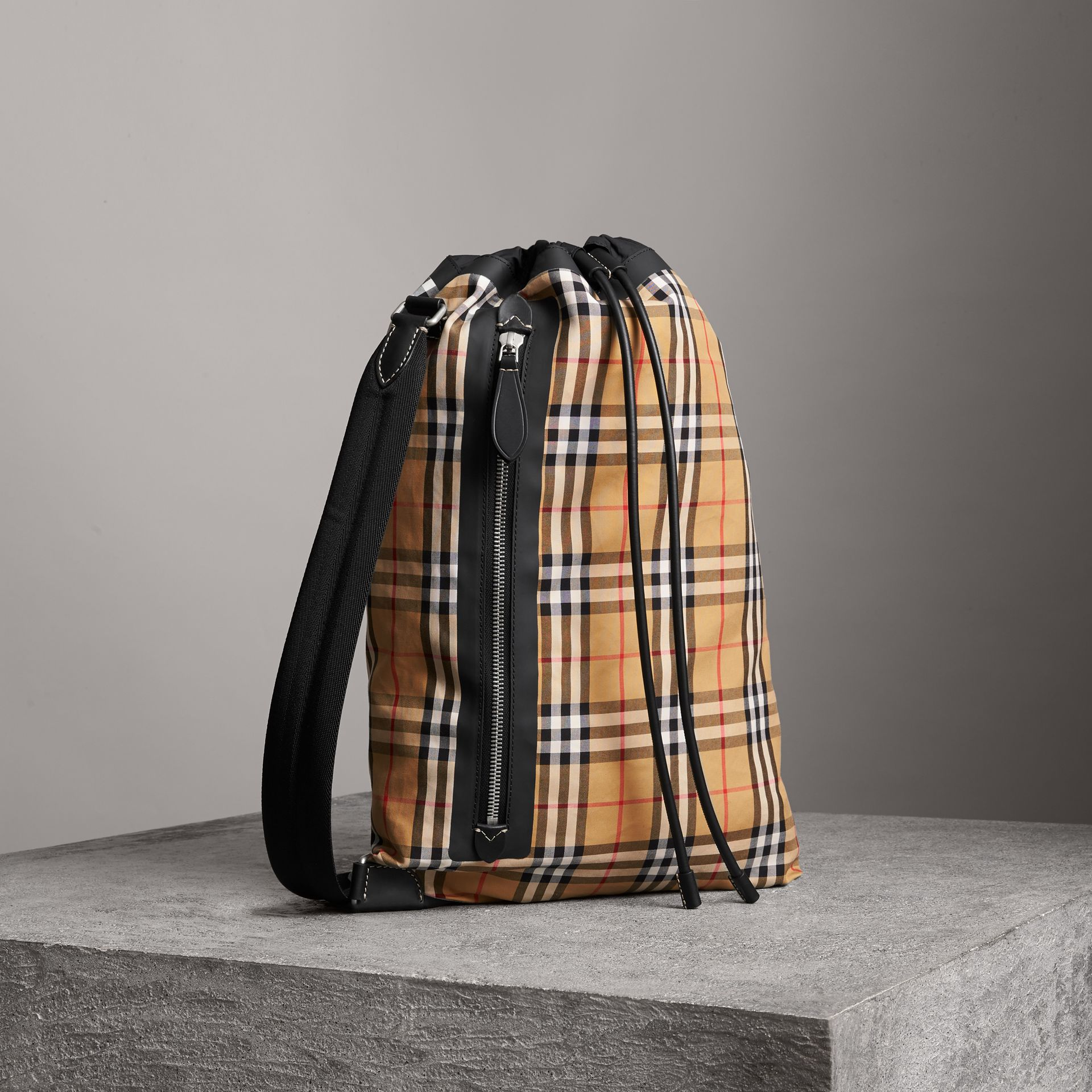 Medium Vintage Check Cotton Duffle Bag in Antique Yellow | Burberry Australia - gallery image 0