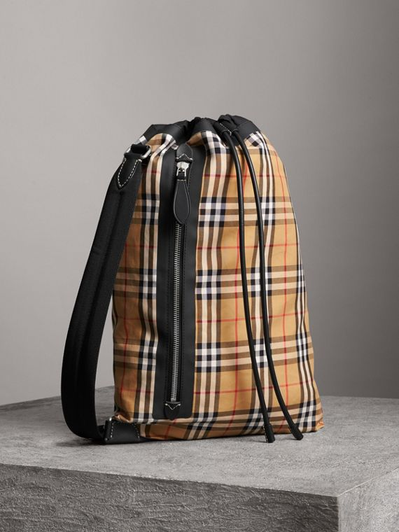 Medium Vintage Check Cotton Duffle Bag in Antique Yellow