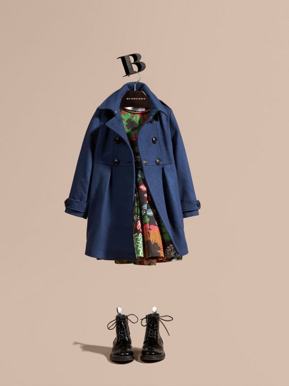Cashmere Military Coat Bright Navy