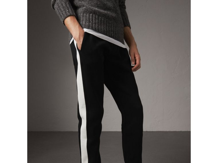 Bold Stripe Detail Cotton Blend Sweatpants in Black - Men | Burberry Hong Kong - cell image 4
