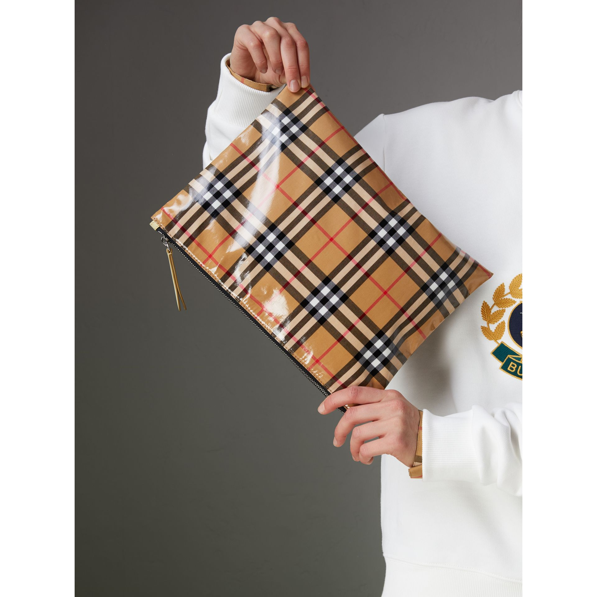 Medium Coated Vintage Check Pouch in Pale Yellow | Burberry - gallery image 4