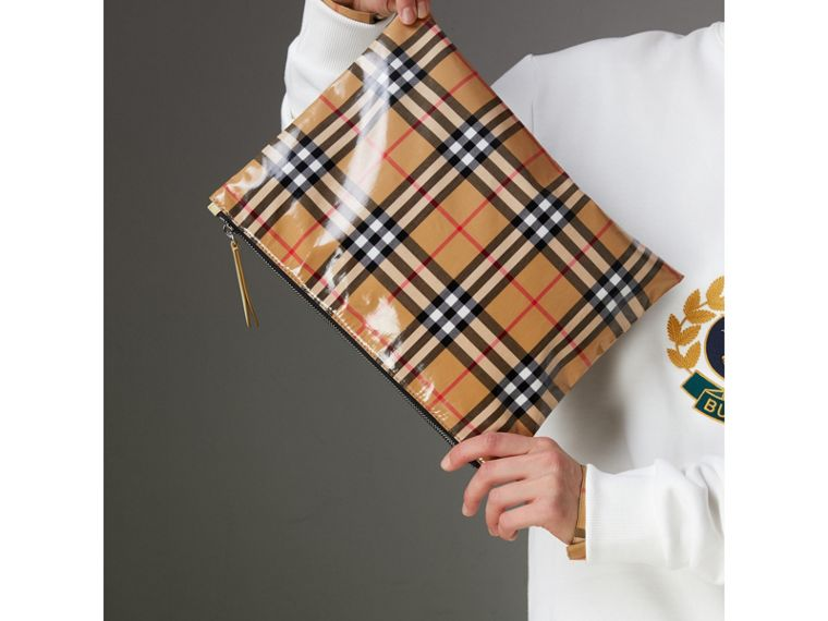 Medium Coated Vintage Check Pouch in Pale Yellow | Burberry Hong Kong - cell image 4