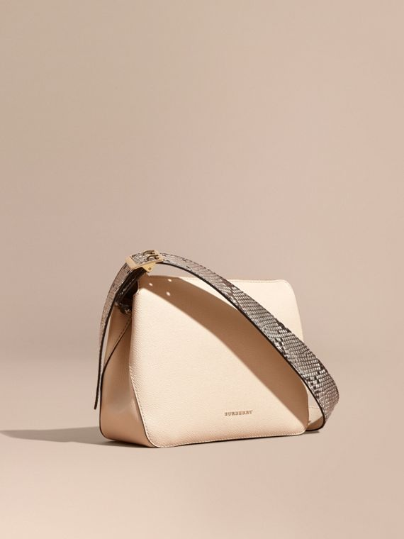 Python and Leather Crossbody Bag