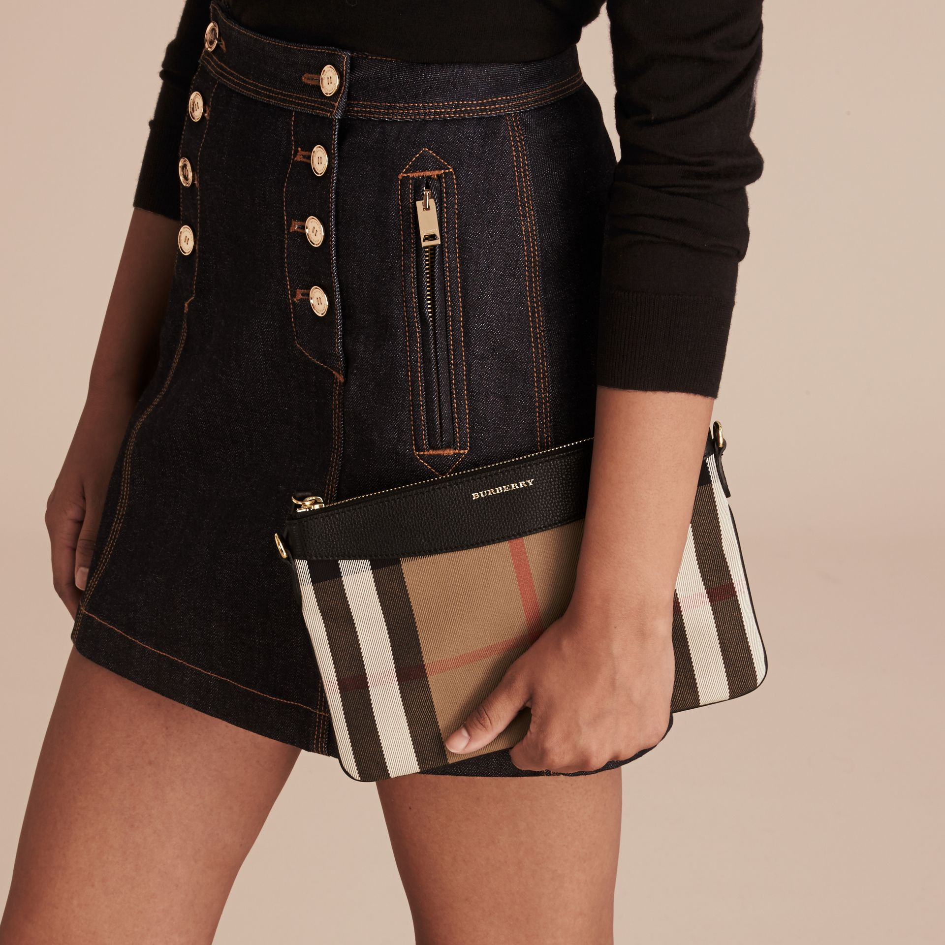 House Check and Leather Clutch Bag in Black - Women | Burberry Singapore - gallery image 5