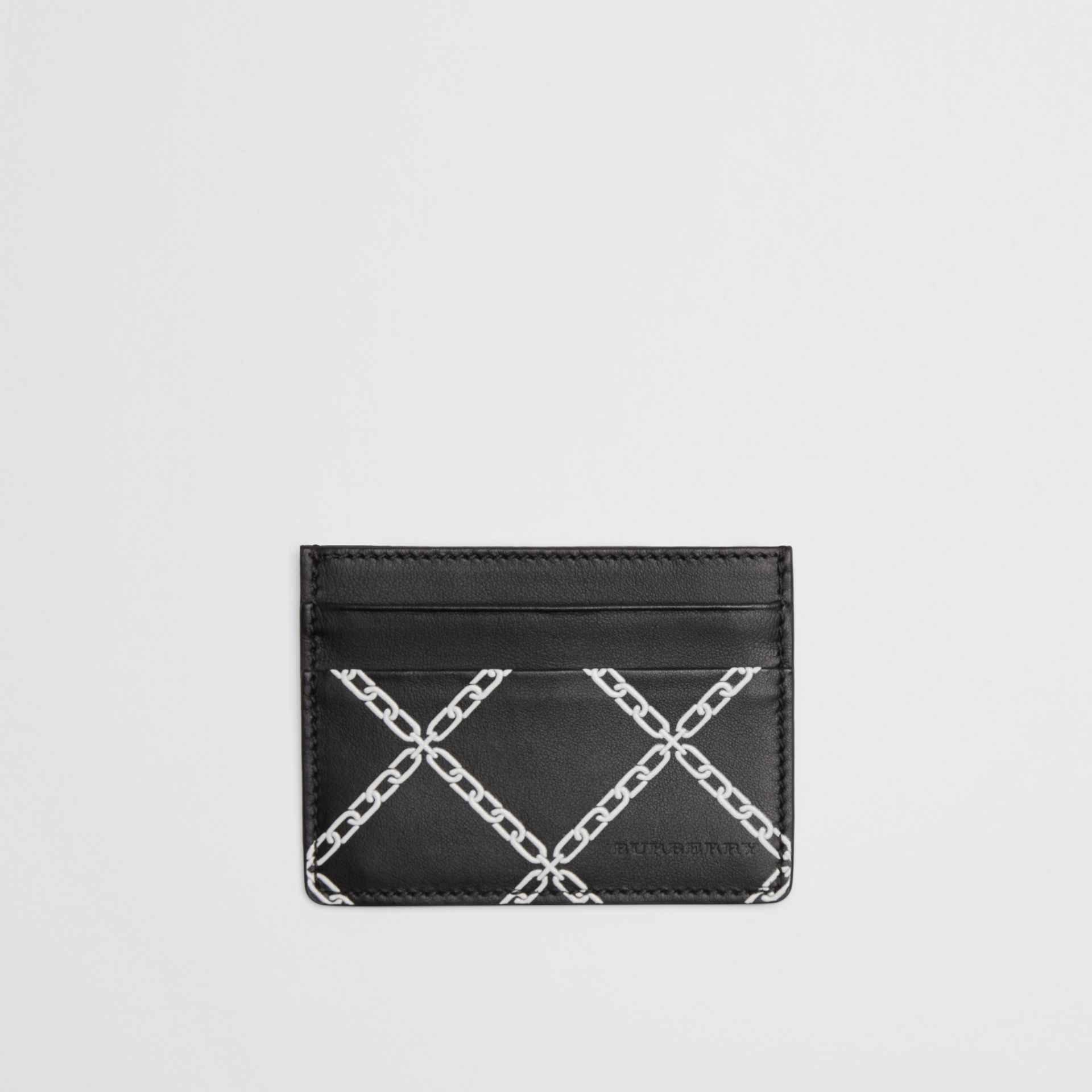 Link Print Leather Card Case in Black/chain | Burberry - gallery image 0