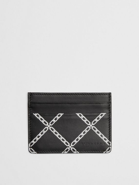 Link Print Leather Card Case in Black/chain