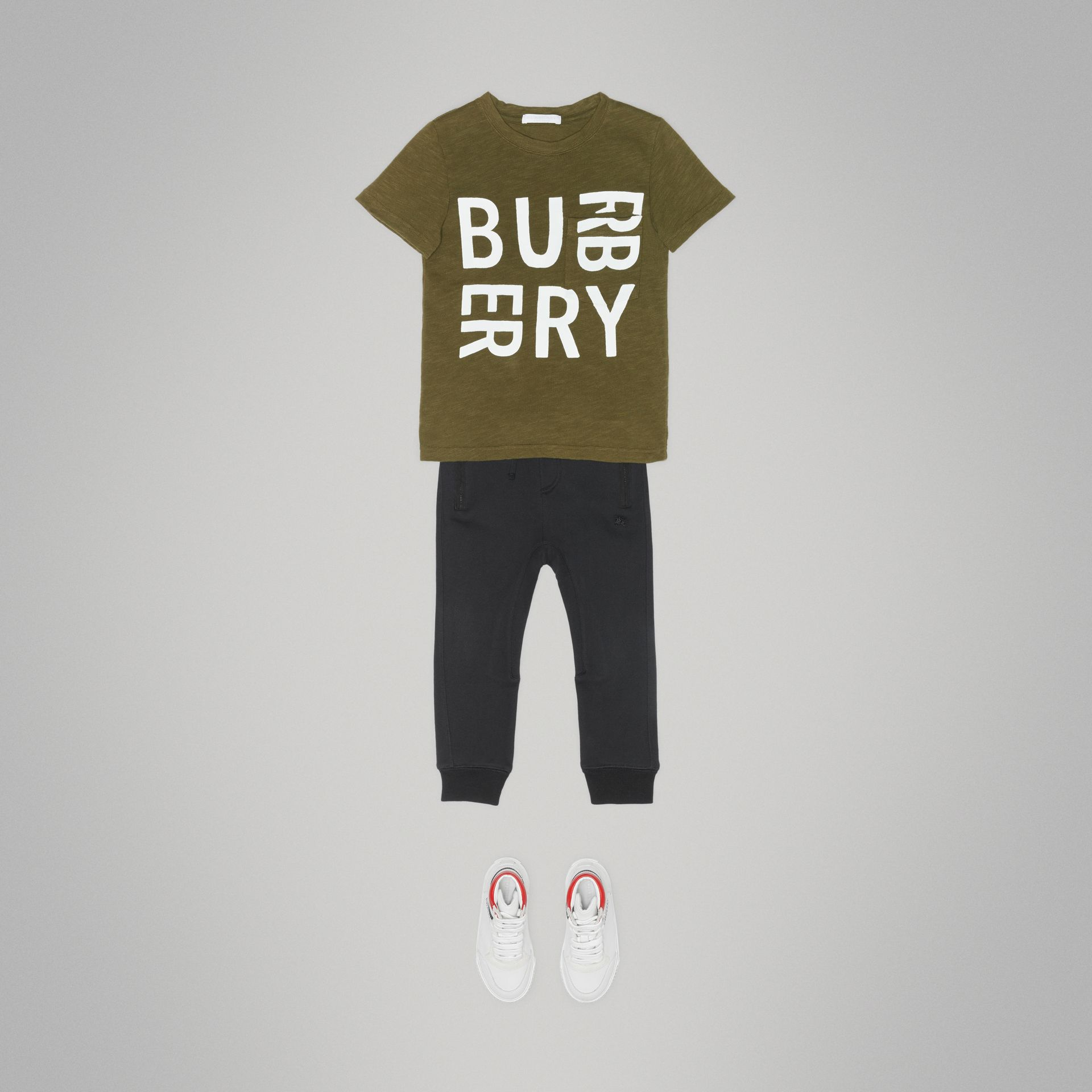 Logo Print Cotton T-shirt in Khaki | Burberry - gallery image 2