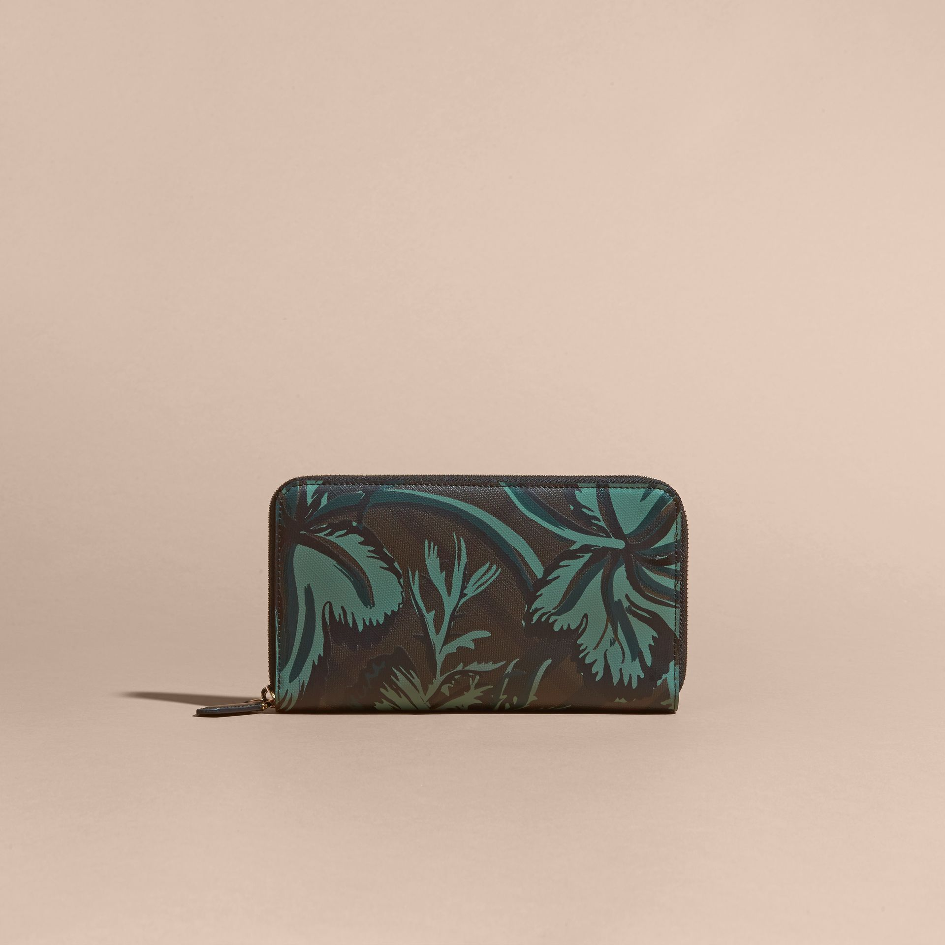 Floral Print London Check Ziparound Wallet Chocolate - gallery image 6