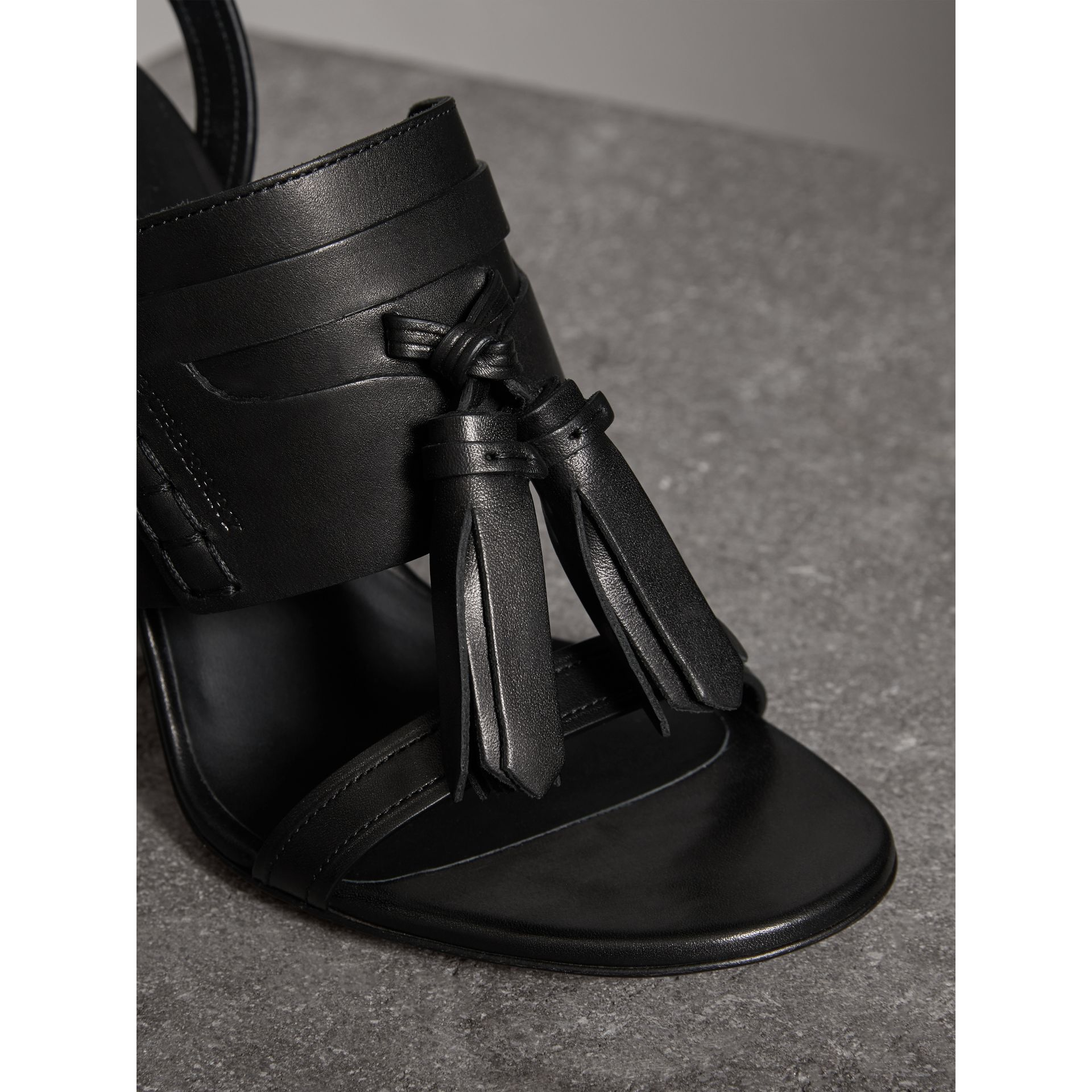 Tassel Detail Leather Sandals in Black - Women | Burberry - gallery image 1