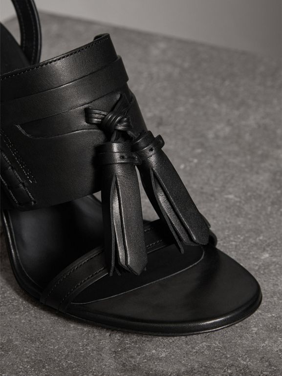 Tasselled Leather Sandals in Black - Women | Burberry United Kingdom - cell image 1