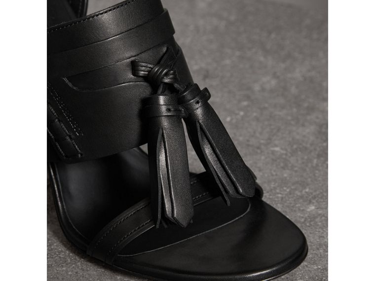 Tassel Detail Leather Sandals in Black - Women | Burberry - cell image 1