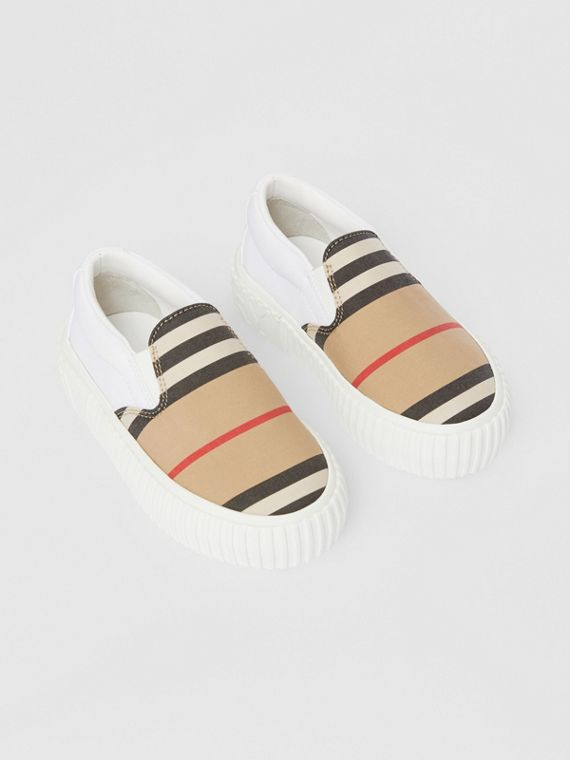 Icon Stripe Cotton Slip-on Sneakers in Archive Beige