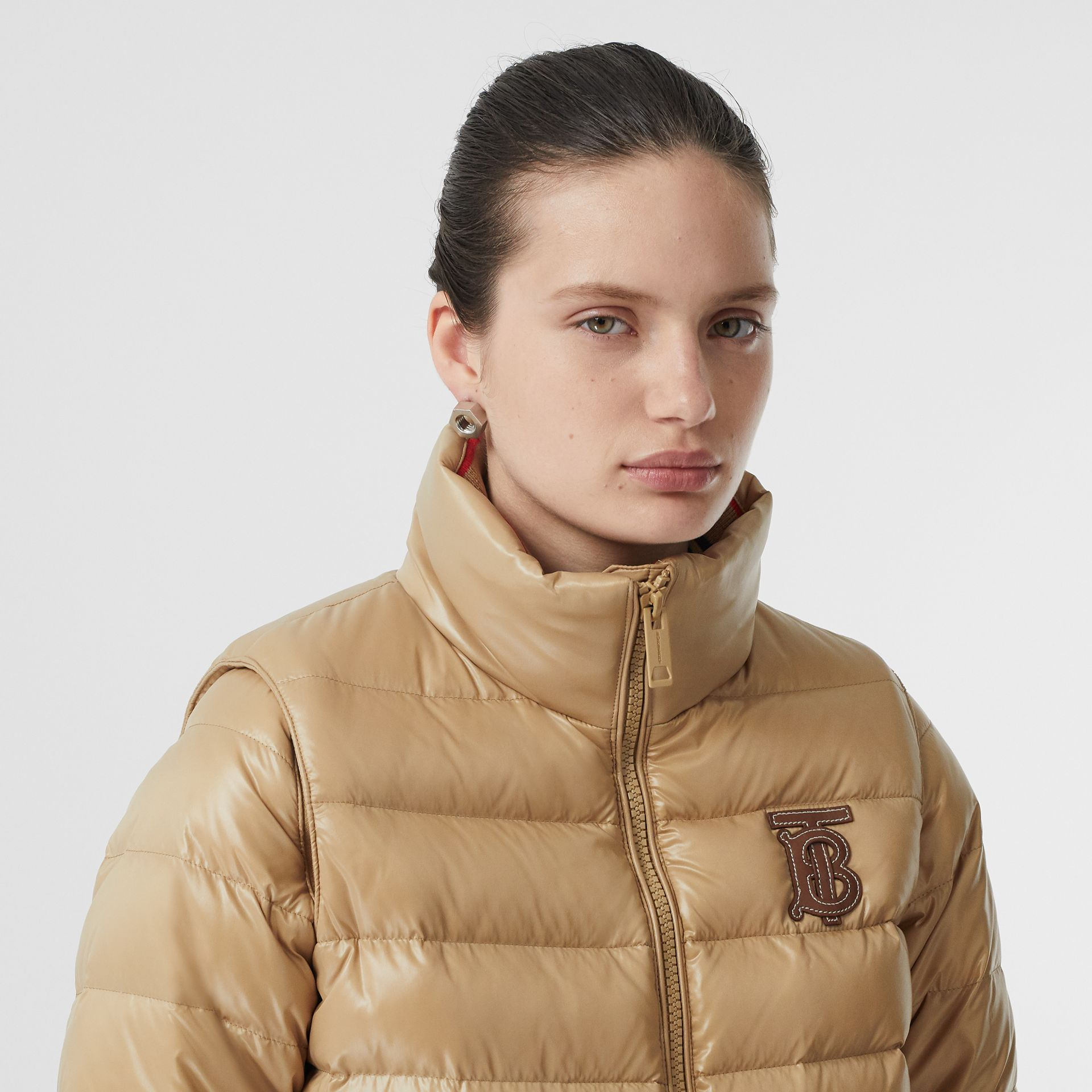 Detachable Sleeve Icon Stripe Detail Puffer Jacket in Honey - Women | Burberry - gallery image 1