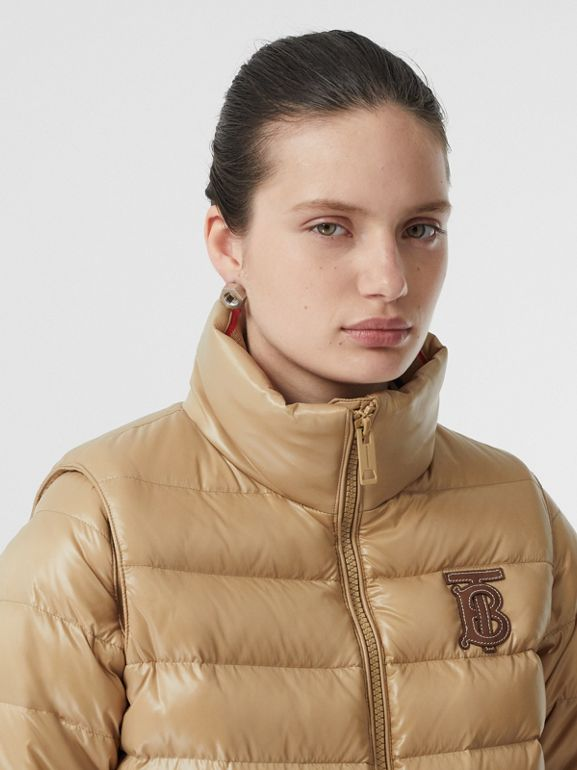 Detachable Sleeve Icon Stripe Detail Puffer Jacket in Honey - Women | Burberry - cell image 1