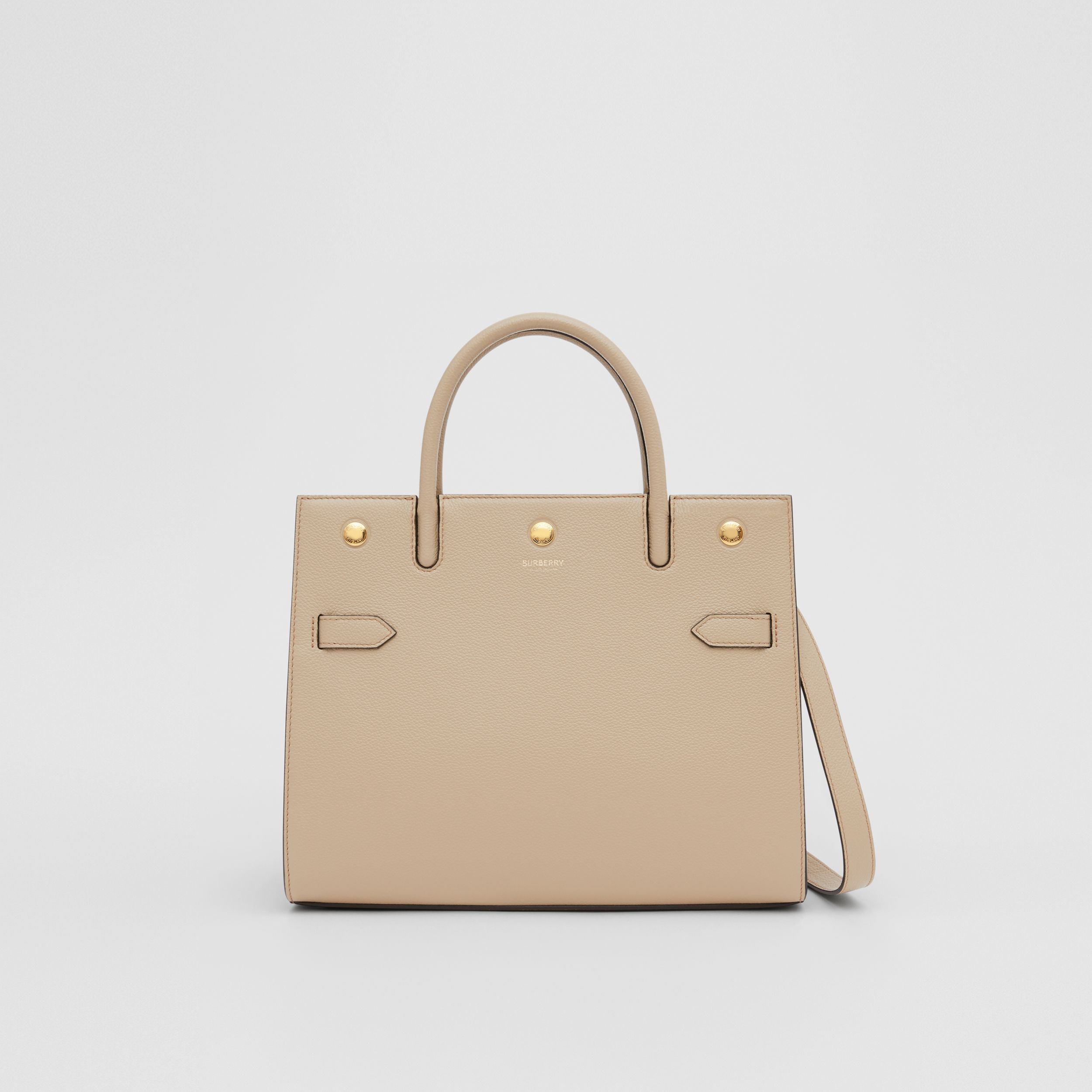 Small Leather Two-handle Title Bag in Light Beige - Women | Burberry Singapore - 1