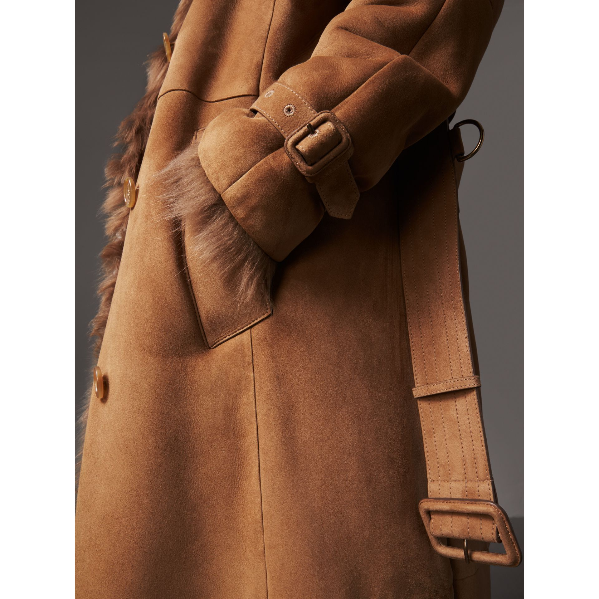 Shearling Long Trench Coat in Dark Camel - Women | Burberry - gallery image 4