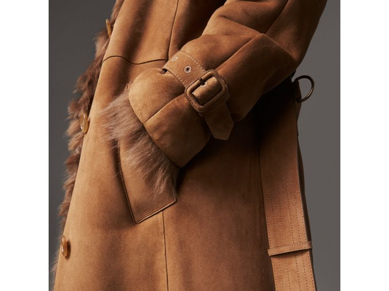 Shearling Long Trench Coat in Dark Camel - Women | Burberry - cell image 4
